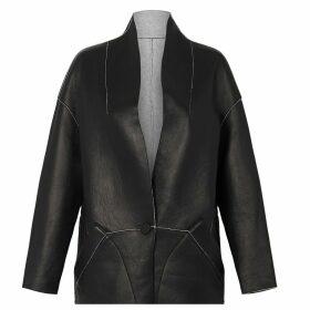 West 14th - Columbus Reversible Coat Italian Black Leather