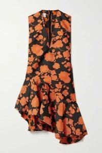 Marques' Almeida - Asymmetric Frayed Brocade Dress - Black