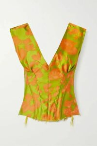 Marques' Almeida - Satin-trimmed Frayed Brocade Bustier Top - Chartreuse