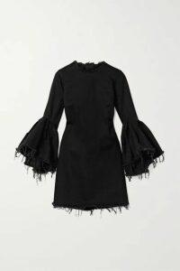 Marques' Almeida - Ruffled Frayed Denim Mini Dress - Black