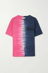 Aries - Printed Tie-dyed Cotton-jersey T-shirt - Blue