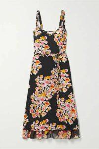 DYVNA - Belted Floral-print Silk-crepe Midi Dress - Black