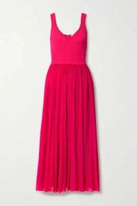 Alexander McQueen - Chiffon And Ribbed-knit Midi Dress - Bright pink