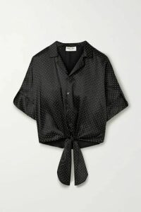 SAINT LAURENT - Tie-front Studded Silk-satin Blouse - Black