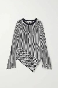 palmer//harding - Vana Asymmetric Striped Cotton And Modal-blend Sweater - Black