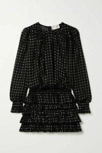 SAINT LAURENT - Ruffled Glittered Flocked Silk-blend Chiffon Mini Dress - Black
