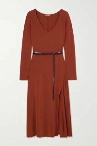 Altuzarra - Phoebe Belted Satin-jersey Midi Dress - Brick