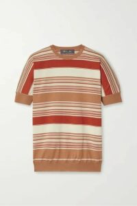 Loro Piana - Giroccolo Tangery Striped Silk And Cotton-blend Sweater - Red