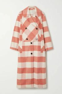 MUNTHE - Excellent Double-breasted Checked Brushed-felt Coat - Pink
