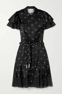 DYVNA - Floral-print Chiffon-trimmed Hammered Silk-satin Dress - Black
