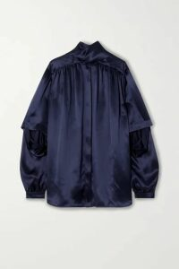 Balenciaga - Tie-neck Layered Silk-satin Blouse - Navy
