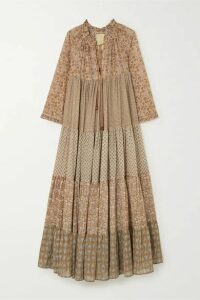 Yvonne S - Hippy Tiered Printed Cotton-voile Maxi Dress - Tan