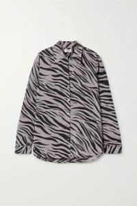 L'Agence - Nina Zebra-print Silk-voile Shirt - Gray