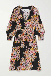 DYVNA - Floral-print Silk-crepe Dress - Black