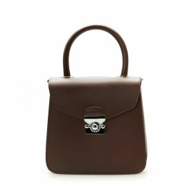A.Cloud - Spacecraft Shaped Locker Lizard Top Handle Bag- Brown