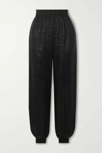 SAINT LAURENT - Metallic Knitted Track Pants - Black