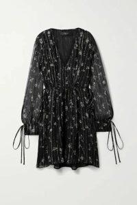 AMIRI - Metallic Floral-print Silk-chiffon Mini Dress - Black