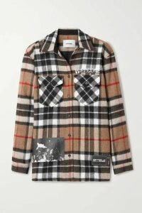 we11done - Printed Checked Wool-twill Shirt - Camel