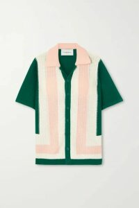 Casablanca - Yass Color-block Cotton Top - Green