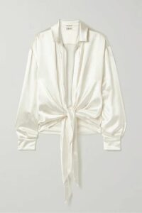 SAINT LAURENT - Tie-front Silk-satin Blouse - Ivory