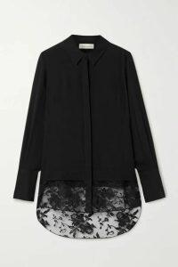 Alexander McQueen - Lace-trimmed Silk-chiffon Shirt - Black