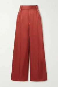 Mother of Pearl - + Net Sustain Cora Picot-trimmed Hammered-satin Wide-leg Pants - Brick