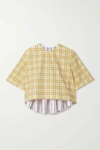 Rosie Assoulin - Party In The Back Cropped Paneled Cotton-seersucker Top - Yellow
