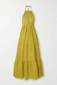 On The Island By Marios Schwab - Molakai Tiered Linen Halterneck Maxi Dress - Chartreuse