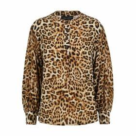 Lindsay Nicholas New York - Poet Blouse In Leopard Silk