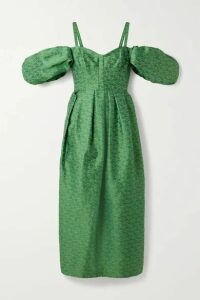 Rosie Assoulin - Pleated Cold-shoulder Brocade Midi Dress - Jade