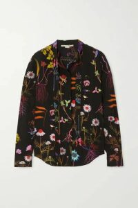 Stella McCartney - Pussy-bow Floral-print Silk Crepe De Chine Blouse - Black