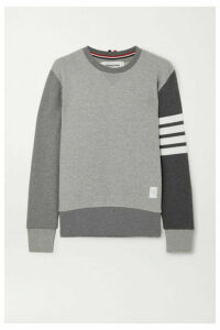 Thom Browne - Color-block Striped Cotton-jersey Sweatshirt - Gray
