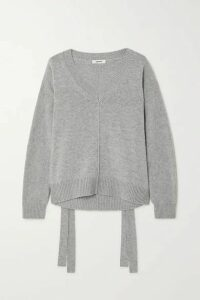 Jason Wu - Tie-detailed Wool And Cashmere-blend Sweater - Gray