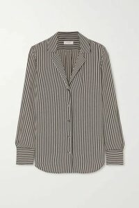 EQUIPMENT - Oriana Striped Crepe De Chine Shirt - Black