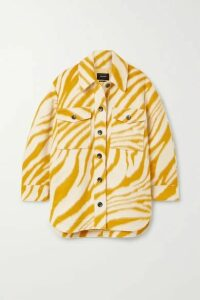 Isabel Marant - Harvey Oversized Zebra-print Brushed Wool Jacket - Yellow