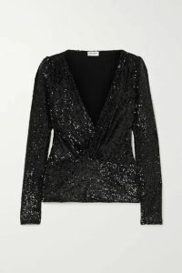 SAINT LAURENT - Sequined Jersey Blouse - Black