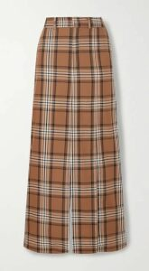 A.W.A.K.E. MODE - Checked Cotton-twill Maxi Skirt - Brown