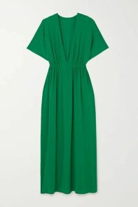 Eres - Mira Gathered Stretch-jersey Maxi Dress - Green