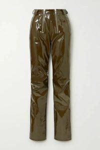 GmbH - Frey Zip-detailed Vinyl Slim-leg Pants - Army green