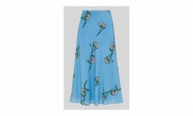 Sprig Floral Silk Bias Skirt
