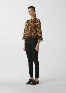 Daisy Print Fluted Top