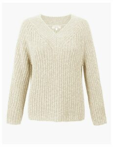 Per Una Cotton Rich Textured V-Neck Jumper