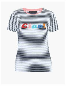 M&S Collection Cotton Rich Ciao Slogan Fitted T-Shirt