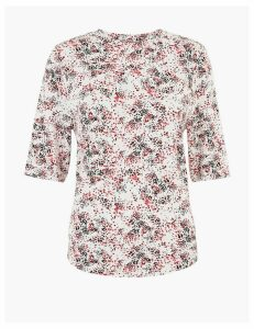 M&S Collection Printed Half Sleeve Top