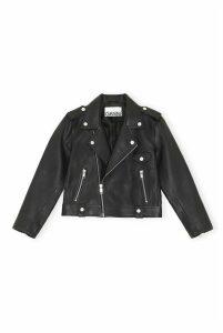 Ganni Leather Jacket - DK38 Black