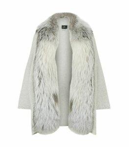Embellished Fur Trim Cardigan