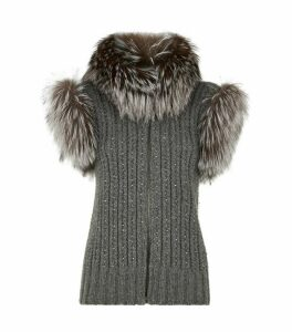 Knitted Gilet with Fox Fur Trim