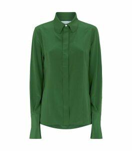Exaggerated Collar Silk Shirt