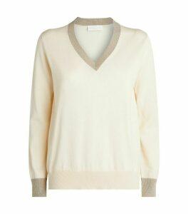Glitter-Trim Sweater