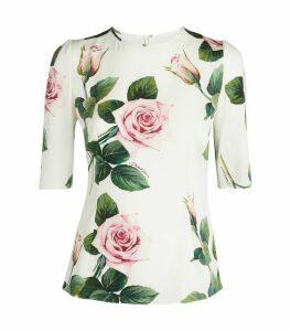 Tropical Rose-Print Blouse